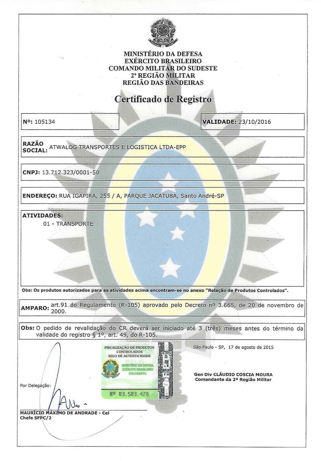 1b1f262450 Exército. Certificado ...